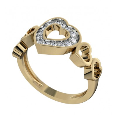 Attractive Heart Ring with diamonds